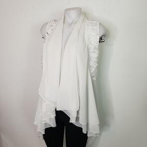 Double Zero white drape front lace vest tie back